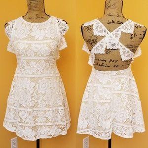 Meng Haute Couture white lace cross back dress I20